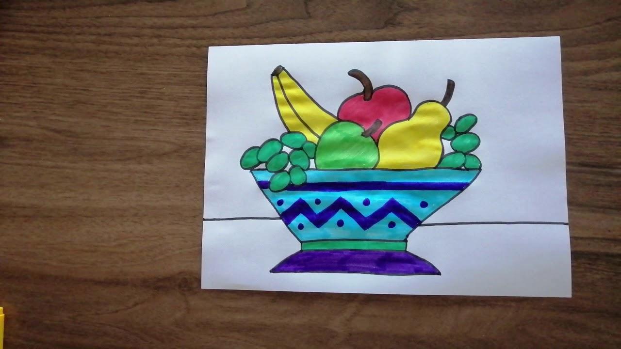 Nasıl Çizilir? - Meyve Tabağı - Natürmort - Meyveler - Çocuklar İçin Resim Çizme - RÜYA OKULU
