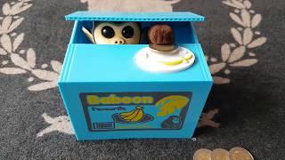 MoneyBox Detská Pokladnička,šporkasnička na Mince,FUNNY Crazy Monkey Loves Banana and Money KIDS