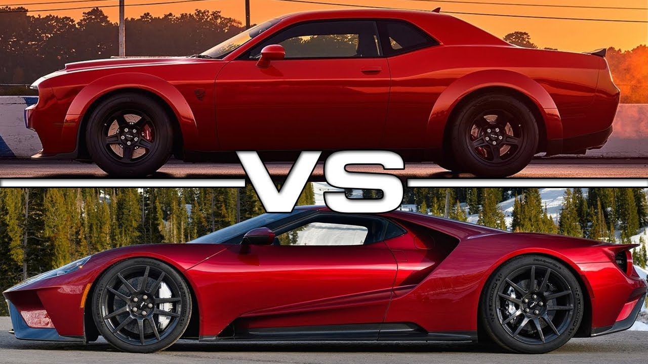 Ford Mustang Hennessey >> 2018 Dodge Challenger SRT Demon vs 2018 Ford GT - YouTube