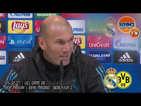 Real Madrid - Borussia Dortmund Rueda de prensa previa de ZIDANE Champions (05/12/2017)