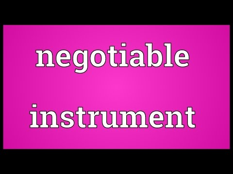 Negotiable instrument Meaning