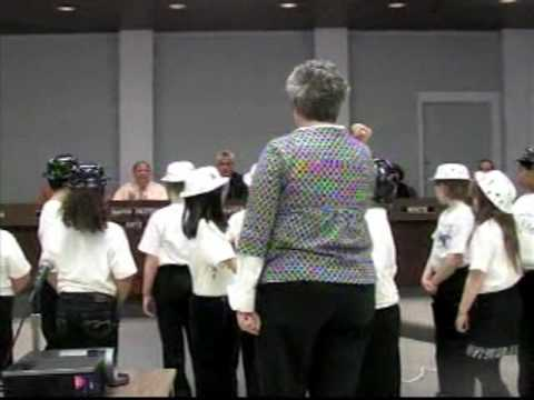 Raytown Little Blue Elementary School children sing for the Board of Aldermen