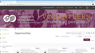 How to search for a volunteer opportunity at the Community Food Bank