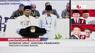 Pidato Pasangan Prabowo - Sandi Usai Pengundian Nomor Urut