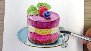 수채화 예쁜 케이크 그…