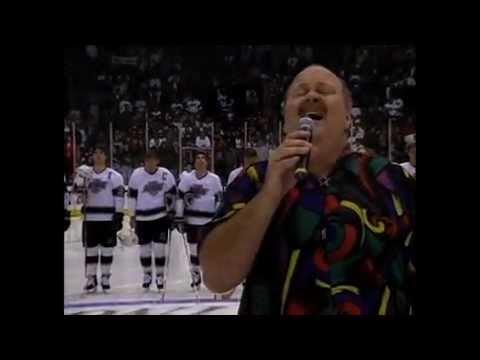 Warren Wiebe sings O Canada and America the Beautiful before an L.A. Kings game