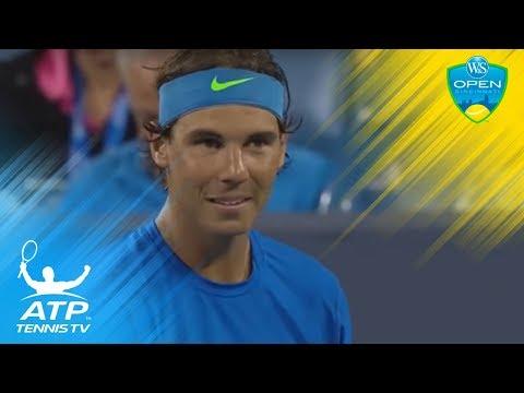 Nadal & Chardy laugh/cringe at ball boy bug patrol | Cincinnati 2015