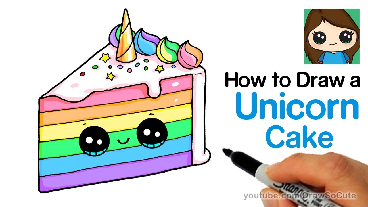 How To Draw A Unicorn Rainbow Cake Slice Easy And Cute Youtube