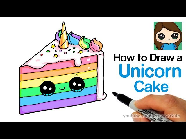 How to Draw a Unicorn Rainbow Cake Slice Easy and Cute ...