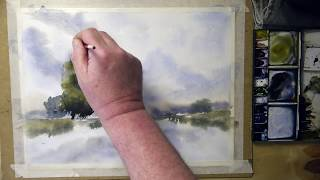 Water, sky and Reflections in watercolour  English Narrated Version