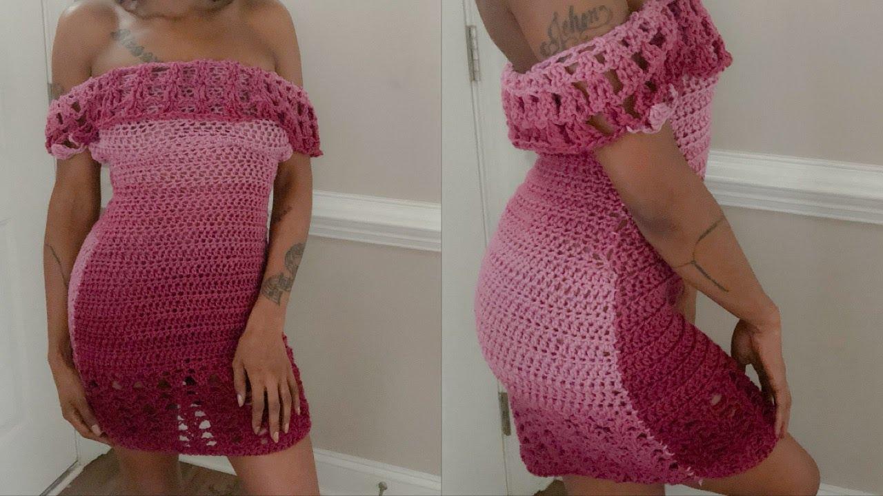 Off Shoulder Ombre Crochet Dress Youtube