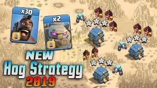 New Hog Strategy 2019! 30 Hog 2 Golem With Bowler Smashing Th12 Max Bases   Clash Of Clans