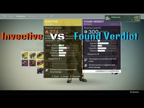 Destiny Invective Vs Found Verdict Weapon Review and ...