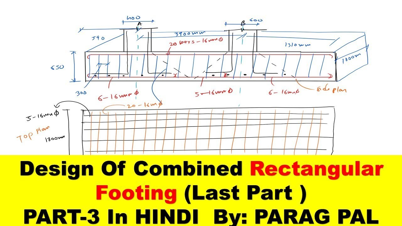 Design of combined rectangular column footing PART-3 | Parag pal