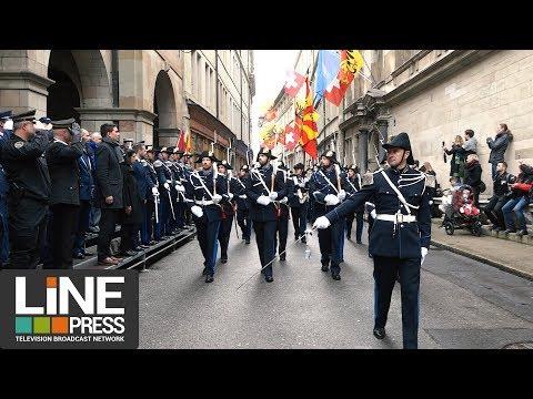 Prestation serment police + hommage Colonel Beltrame / Genève - Suisse 28 mars 2018