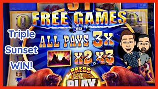 $100 CASINO Trip HOW MUCH Can We WIN? 3X Free Games on Buffalo Diamond BIG WIN!