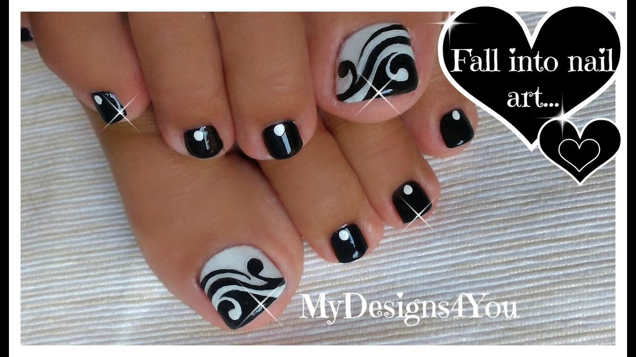 Toenail Art Design Black And White Pedicure Diseo De Uas De