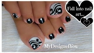 Toenail Art Design | Black and White Pedicure ♥ Diseño de Uñas de Pies