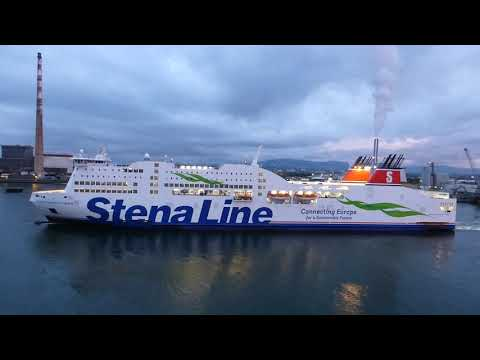 Stena Adventurer Ferry Turns And Departs Dublin Port Ireland For Holyhead Wales UK