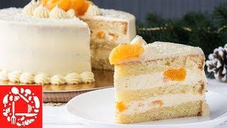 Торт на Новый год 2019! Нежнейший торт с кремом пломбир и мандаринами! Меню на Новый год!
