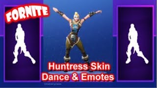 "Fortnite ""HUNTRESS"" Skin Showcase Sexy Dances & Emotes 