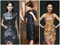Beautiful Chinese Neck Designs/Floral Brocade Dresses 2017-2018