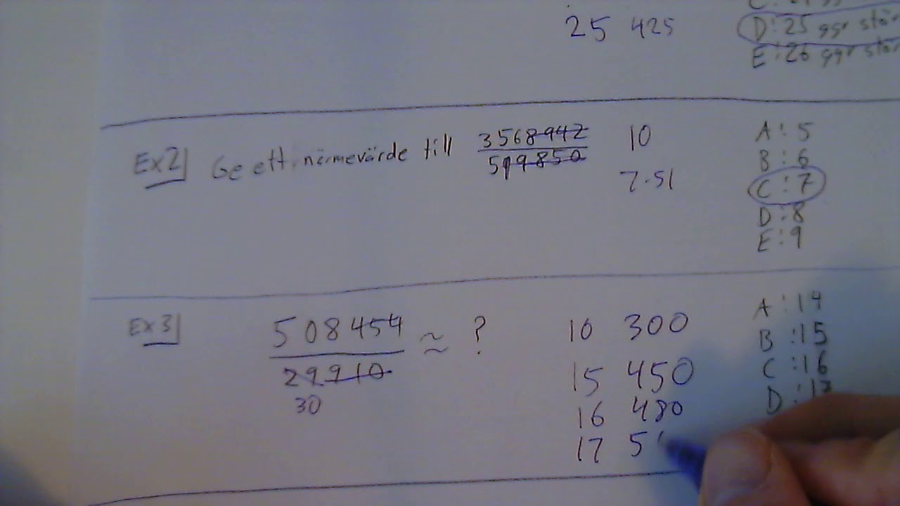 Högskoleprovet - Tips DTK Räkna ut andelar (räkna multiplikation istället för division)