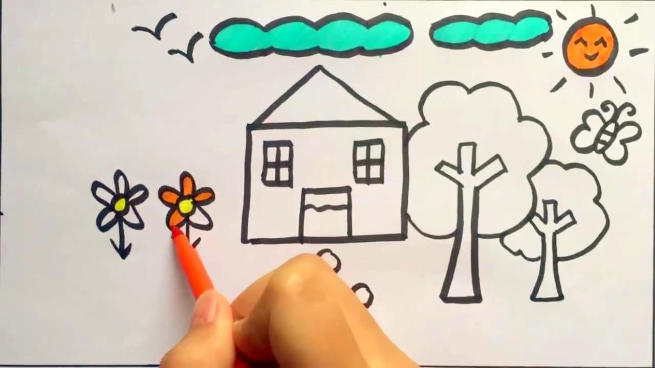 tập vẽ ngôi nhà và vườn cây của gia đinh em