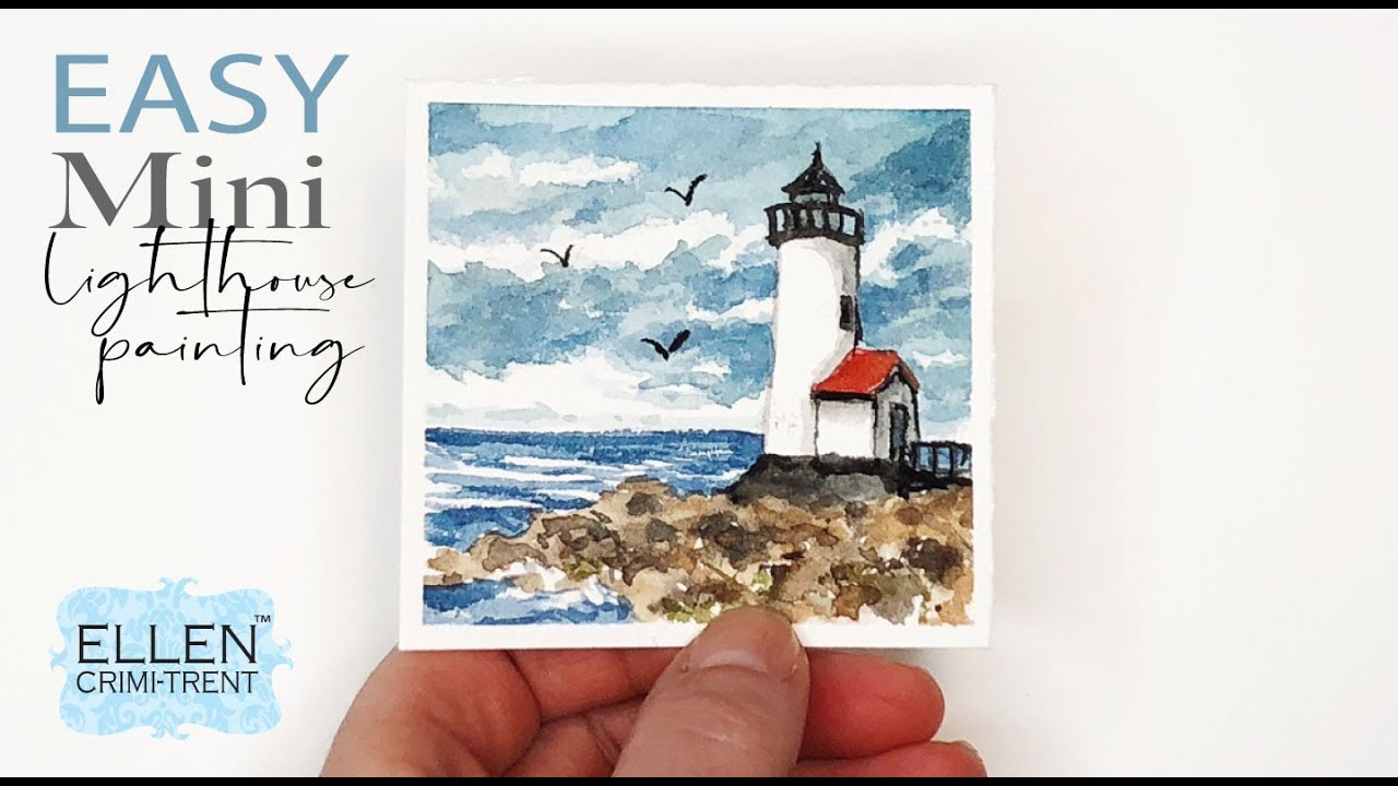 Watercolor Mini Lighthouse painting