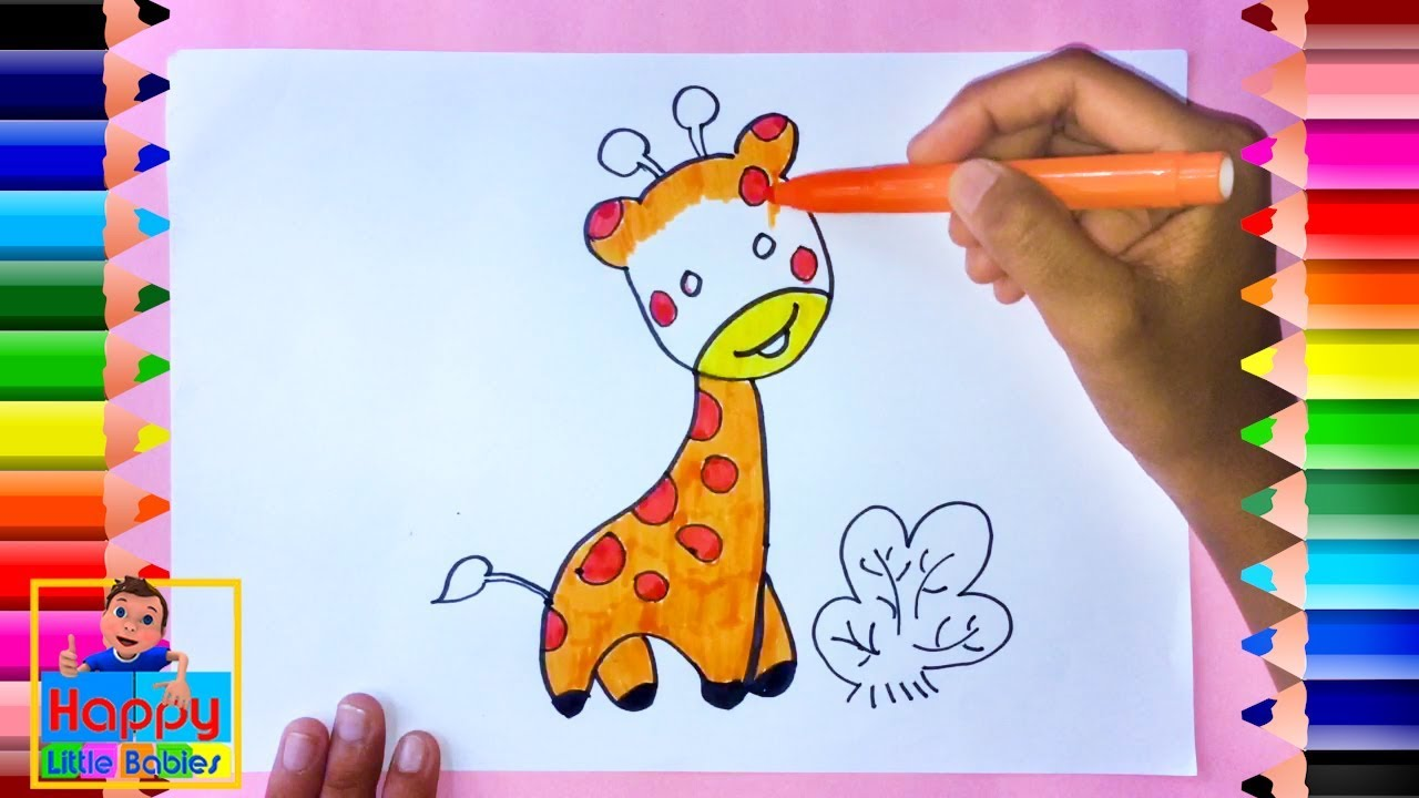 Cute Giraffe coloring and drawing Learn Colors for kids ...