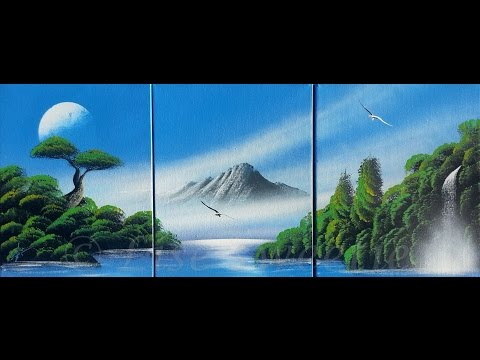 spray paint art - Beautiful nature painting made on canvas