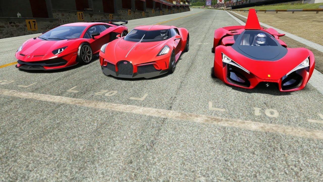 Bugatti La Voiture Noire Vs Ferrari F80 Concept Vs Lamborghini Aventador Svj Youtube
