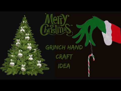 Grinch hand candy holder. Christmas craft idea. Door hanger decoration.