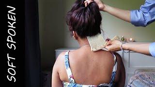 Hair play  neck & shoulder massage - soft spoken [ASMR]