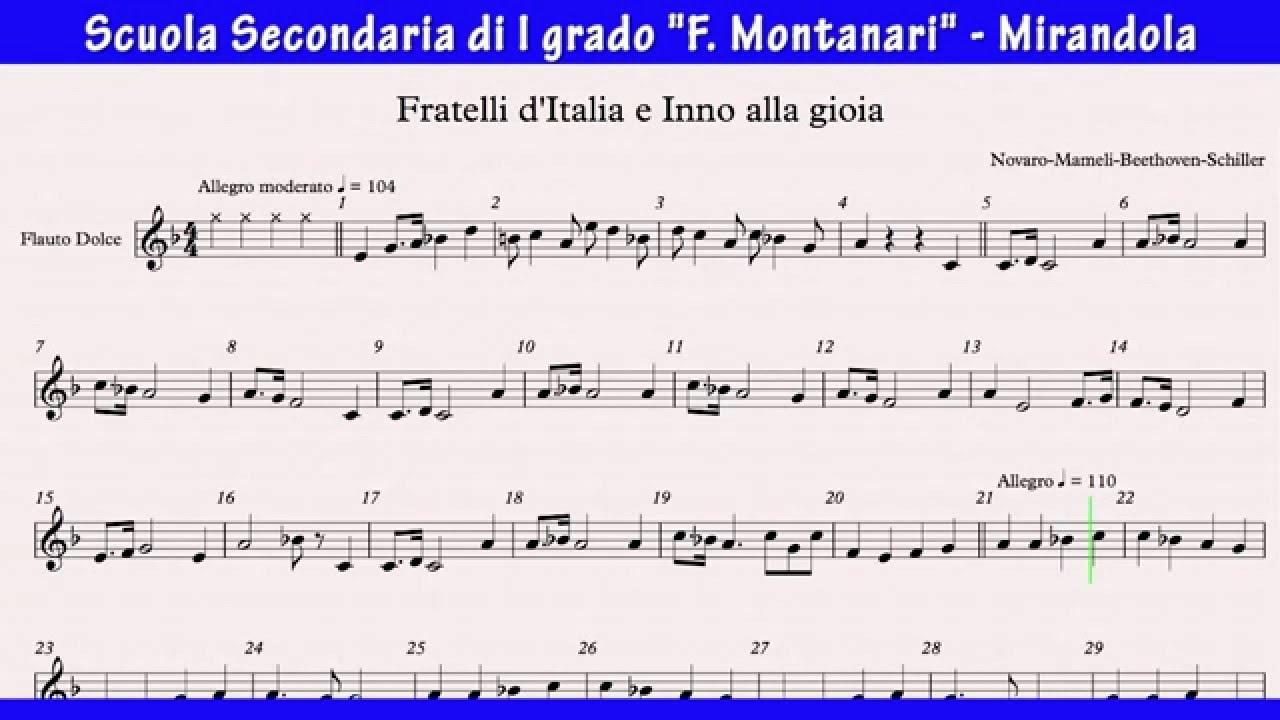 Top Fratelli d'Italia e Inno alla gioia - Video spartito per flauto  FO62
