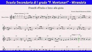 Fratelli d'Italia e Inno alla gioia -  spartito per flauto dolce (byAM)
