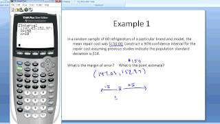 Finding Confidence Intervals for the Mean Using a Graphing Calculator