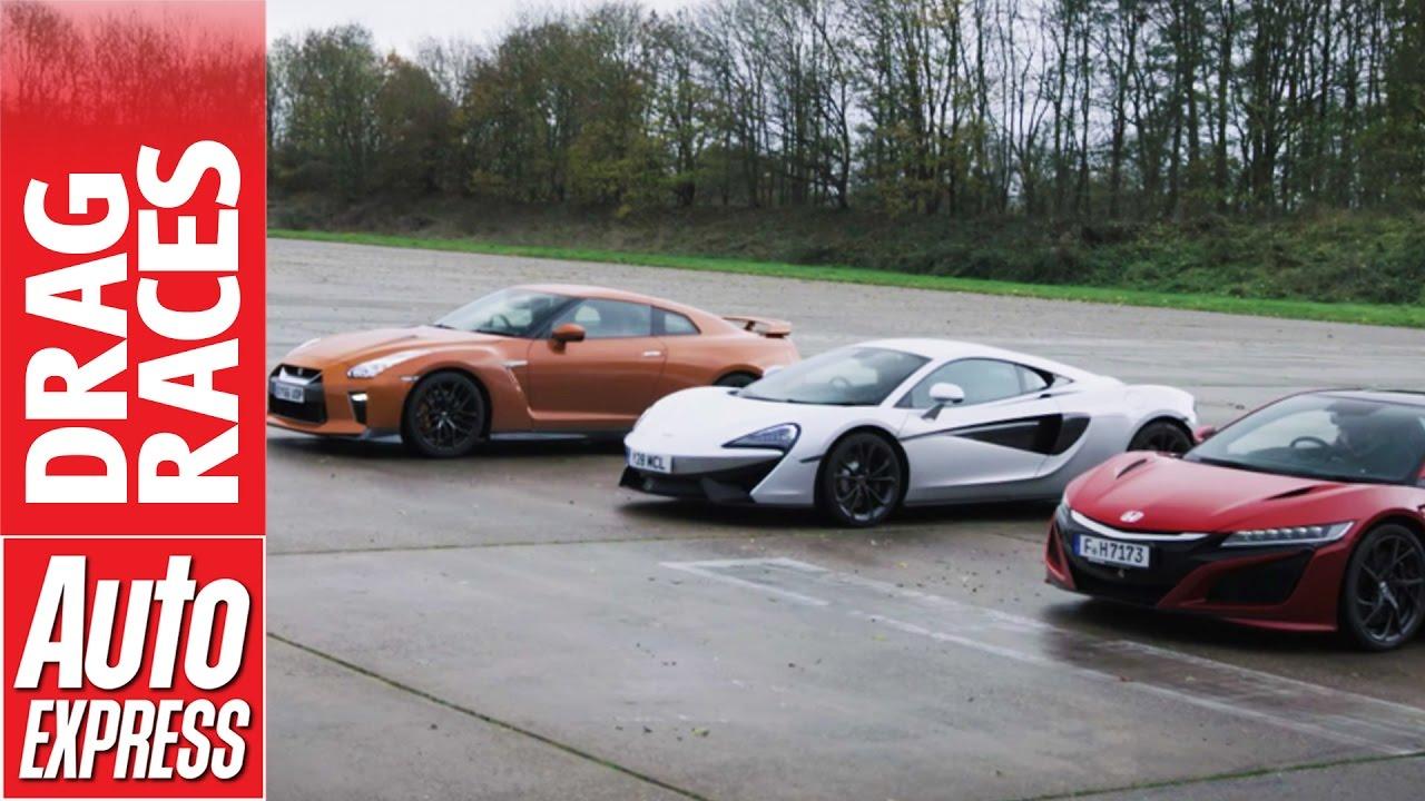 McLaren 540C vs Honda NSX vs Nissan GT-R drag race: plucky Brit takes on Japanese beasts