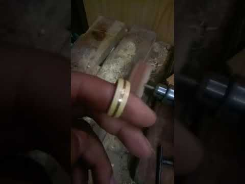 Handmade wooden ring inlay copper wire