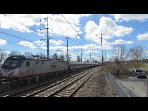 VERY FAST Amtrak Trains & Cargo ship in the Claymont & Fox Point State Park Area