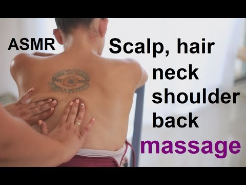 ASMR Scalp, Neck, Shoulders & Back Massage | Hair Brushing & Combing | Coconut Oil | No Talking