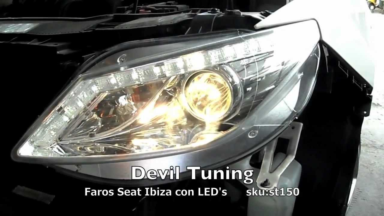 st150 faros seat ibiza 09 12 led devil tuning youtube. Black Bedroom Furniture Sets. Home Design Ideas