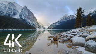 8HRS of Relaxing Ląke Waves and Wind Sounds - 4K Peaceful Serenity of Winter Lake Louise, Canada