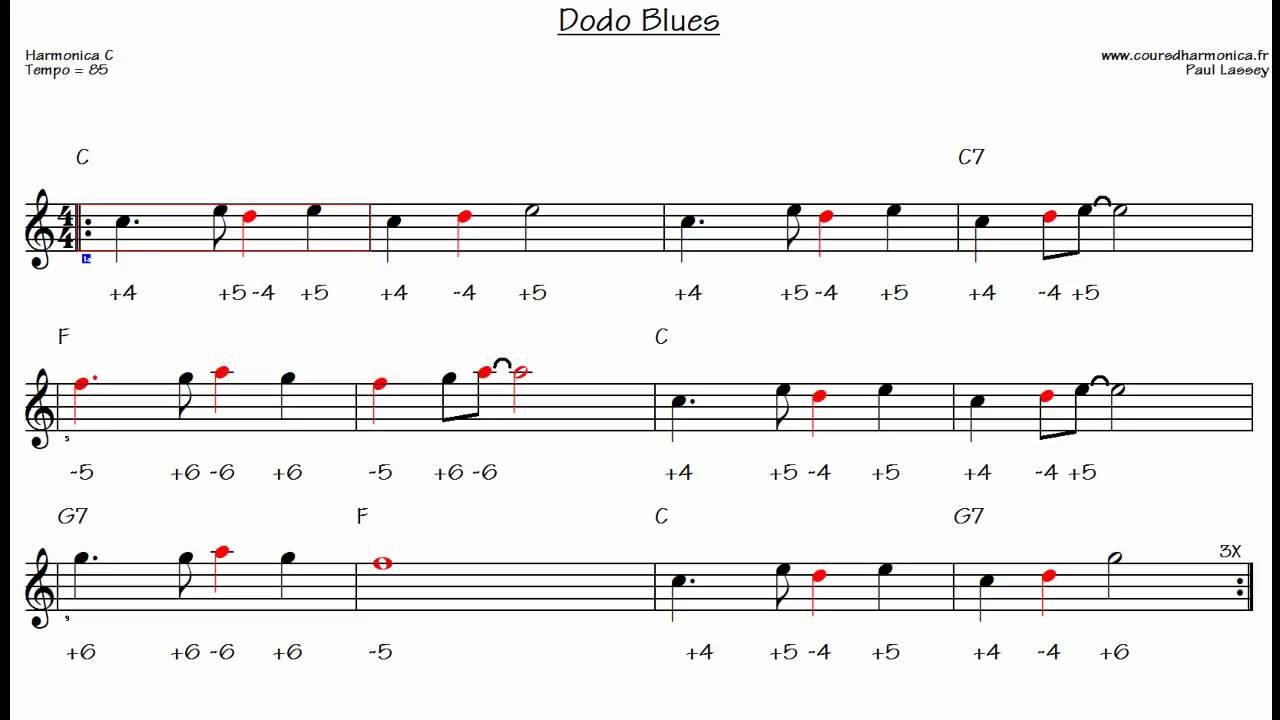 Dodo Blues - Harmonica C - Backing track for beginners (Paul Lassey) - YouTube