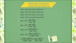 0608 Формулы (теоремы) сложения аргументов