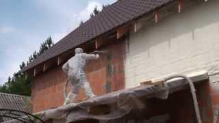 Утепление фасада кирпичного дома Ярославль(Утепление внешнего фасада кирпичного дома методом напыляемой теплоизоляции Экотермикс. Ровный теплоизол..., 2013-09-05T09:41:05.000Z)