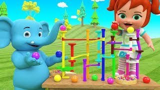 Color Balls Slider Toy Set - Colors for Children to Learning with Little Baby & Elephant Fun Play 3D