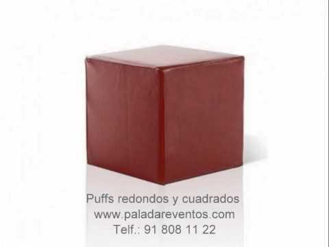 Puffs redondos y cuadrados mobiliario de dise o alquiler - Puff cuadrados ...