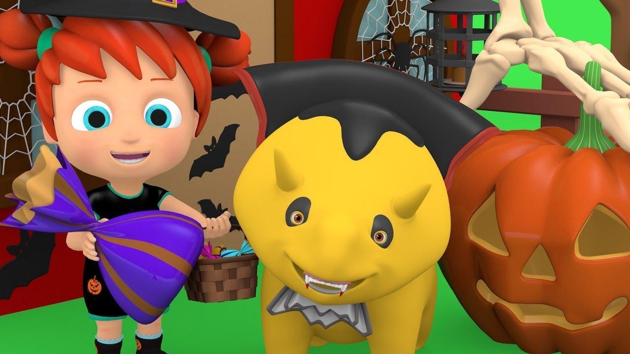 aprenda cores e números - Dia das Bruxas - Dino o dinossauro e as crianças
