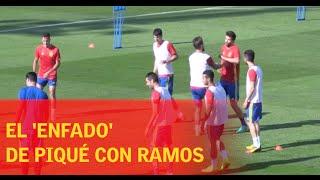 بالفيديو .. كوميديا #بيكيه و #راموس مع #إسبانيا